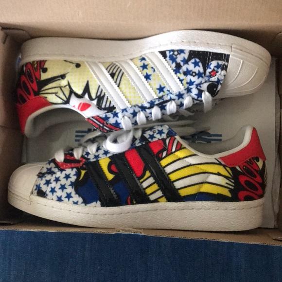 adidas Shoes - Rita Ora 80s comic Adidas Superstars sz 5.5 69f303f7ee46